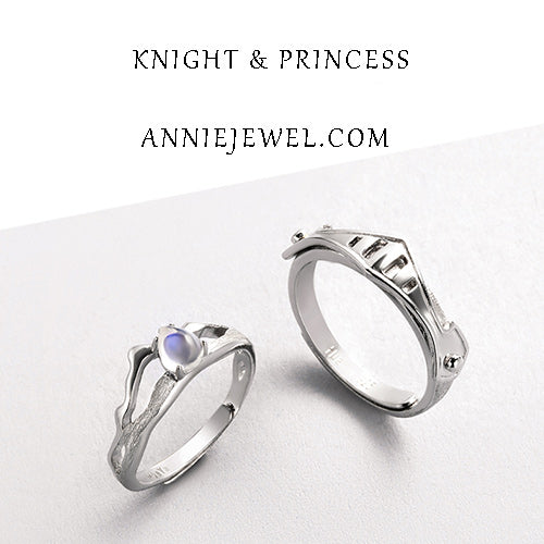 Unique Silver Moonstone Adjustable Knight&Princess Rings For Women