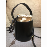 Vegan Tanned Leather Beige Handle Bucket Clutch Bag Purse