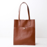 Vertical Leather Tote Work Shopper Bags - Annie Jewel