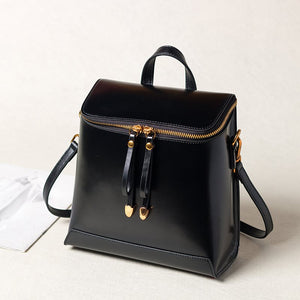 Black Genuine Leather Backpack Bags Handbags Purse