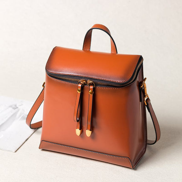 Brown Genuine Leather Backpack Bags Handbags Purse - Annie Jewel