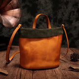 Green Bucket Bag Leather Bucket Small Tote Handbags Purse - Annie Jewel
