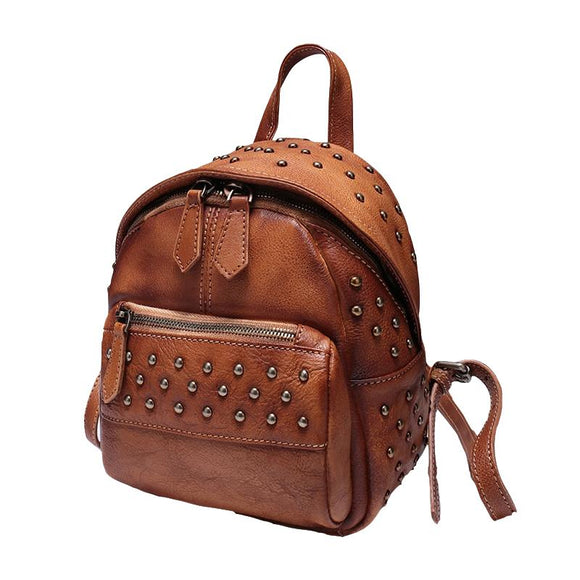 Brown Vintage Leather Small Rivet Backpack Shoulder Bag Purse - Annie Jewel