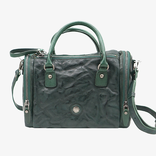 Waxed Leather Boston Square Crossbody Handbag - Annie Jewel