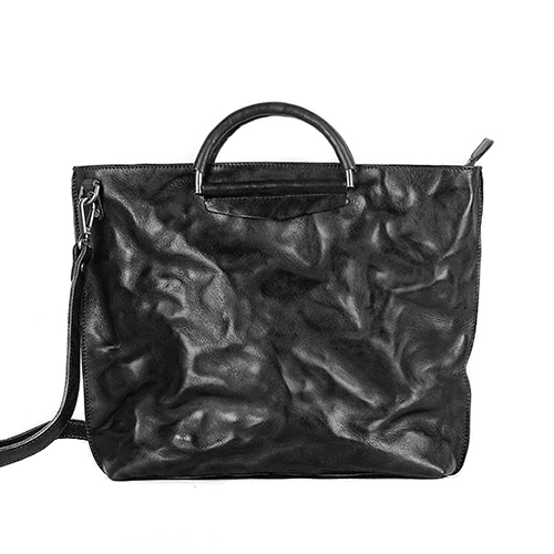 Waxed Leather Zip Top Tote Work Handbag