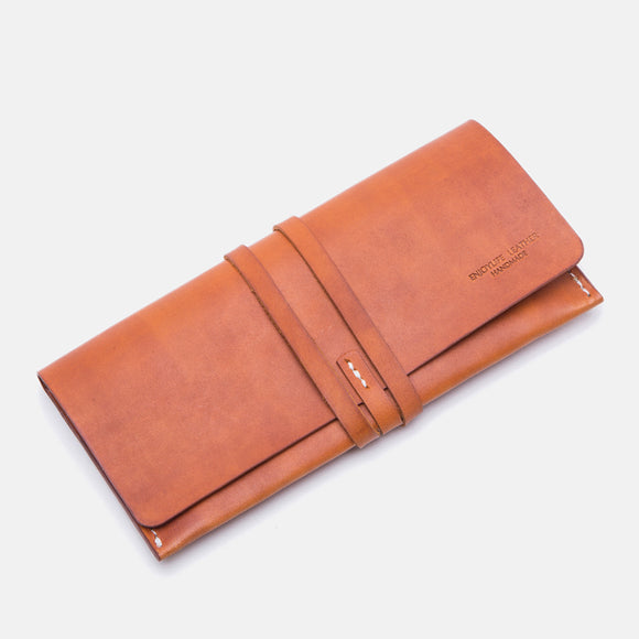 Waxed Leather Drawstring Long Checkbook Cards Holder Wallet Purse