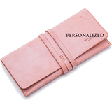 Personalized Waxed Leather Drawstring Long Checkbook Cards Wallet Purse - Annie Jewel