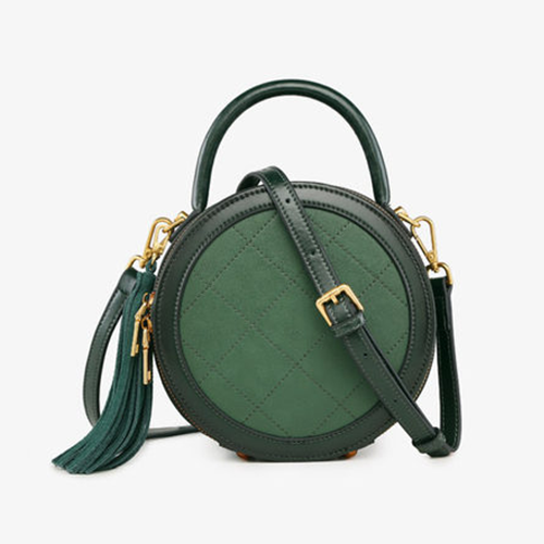 Small Round Leather Crossbody Bags - Annie Jewel