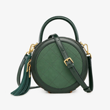 Quited Leather Circle Round Crossbody Bags 2021 - Annie Jewel
