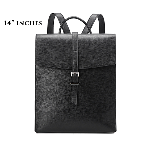 Women's Leather Flap Vertical Satchel Backpack Travel Bag Purse