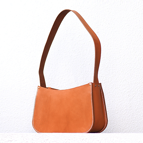 Women's Leather Tan Zipper Satchel Shoulder Bag Purse