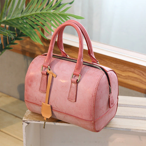 Best Foggy Wax Leather Boston Women's Satchel Handbags Purse