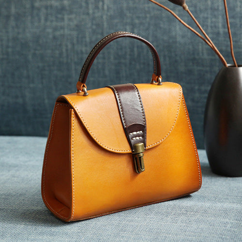 Womens Tan Satchel Handbag Flap Over Crossbody Bag Purse