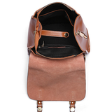 "Women's Small Leather Flap Satchel 11"" Backpack Bag Purse - Annie Jewel"