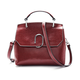 Women's Waxed Leather Satchel Handle Bag Purse