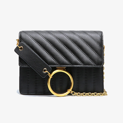 Black Leather Flap Chian Crossbody Bags - Annie Jewel