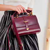 Womens Leather Small Satchel Handle Bags Purse - Annie Jewel