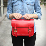 Womens Leather Satchel Bag Red Cambridge Structured Satchel Bag Purse - Annie Jewel