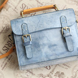Womens Leather Satchel Bag Fog Wax Leather Cambridge Small Satchel Bag Purse - Annie Jewel