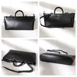 "Womens Leather Structured Black 18"" Zipper Tote Handbag For Work"