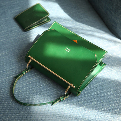 Womens Small Green Satchel Leather Flap Over Square Crossbody Bag Purse