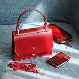 Womens Small Satchel Handbags Leather Flap Over Square Crossbody Bag Purse - Annie Jewel