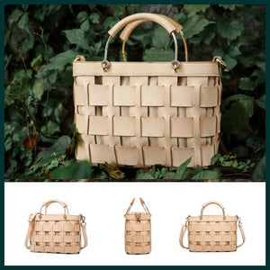 Handmade Woven Cem Leather Small Tote Beach Handbag Purse - Annie Jewel