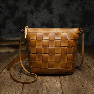 Weaved Cem Leather Small Bucket Bag - Annie Jewel