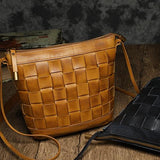 Brown Leather Bucket Bag Weaved Small Bucket Bag Bucket Bag With Zipper - Annie Jewel