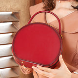 Red Leather Circle Crossbody Bag Purse - Annie Jewel