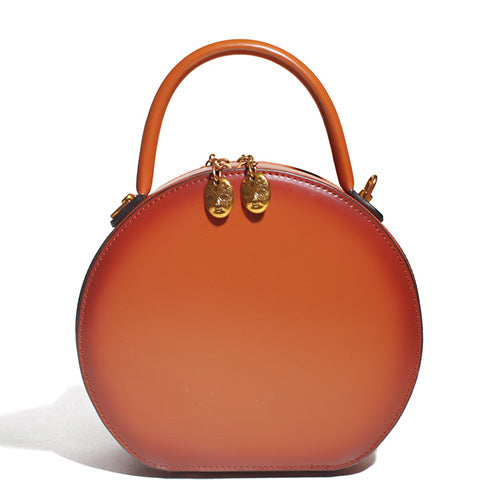 Brown Circular Round Leather Purse - Annie Jewel