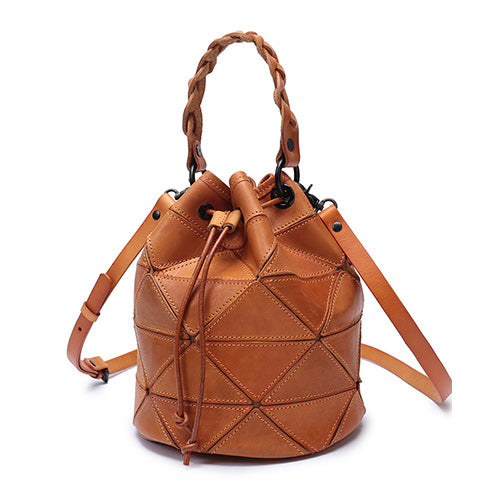 Stitching Leather Drawstring Bucket Bags - Annie Jewel