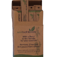 Bamboo Eco Charcoal Toothbrush 12 Pack - Barefoot Creations