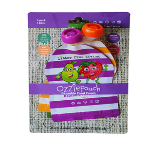 Reuseable Food Pouch 3pk (mixed colours) - Barefoot Creations