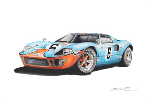 Steve Erwin Art: Ford GT40 Gulf Prints (A3, A4, A5 sizes)