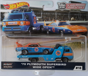 Hot Wheels Team Transport Plymouth Superbird and Wide Open