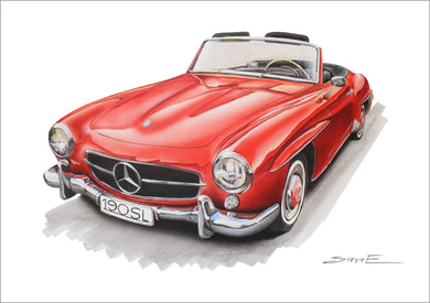 Stencilworx Mercedes-Benz 190SL Print (A3, A4, A5 sizes)