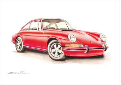 Steve Erwin Art: Porsche 911 Print (A3, A4, A5 sizes)