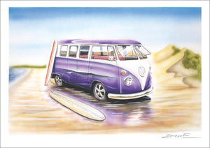 "Stencilworx VW Split-Window ""Purple Haze"" A3 Print"
