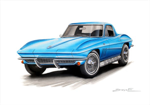 Steve Erwin Art: Chevrolet Corvette Sting Ray Print (A3, A4, A5 sizes)