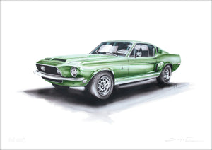 Steve Erwin Art: Ford Mustang GT500 Print (A3, A4, A5 sizes)