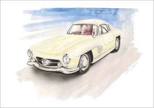 Steve Erwin Art: Mercedes-Benz 300 SL (A3, A4, A5 sizes)