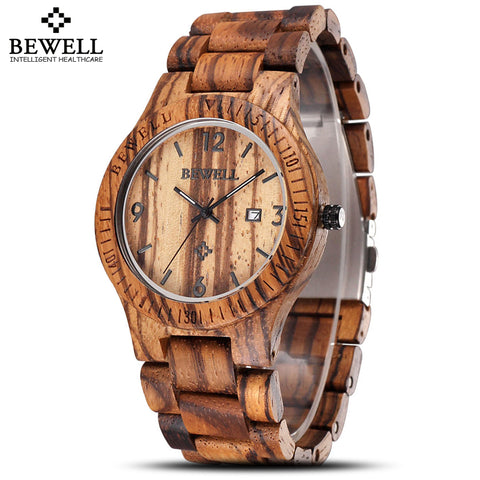 Auto Date  Maple Wooden Watches LuxuryWaterproof Shock Resistant Quartz Watch Clock