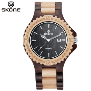 Men Auto Date Quartz Maple Wooden Watch