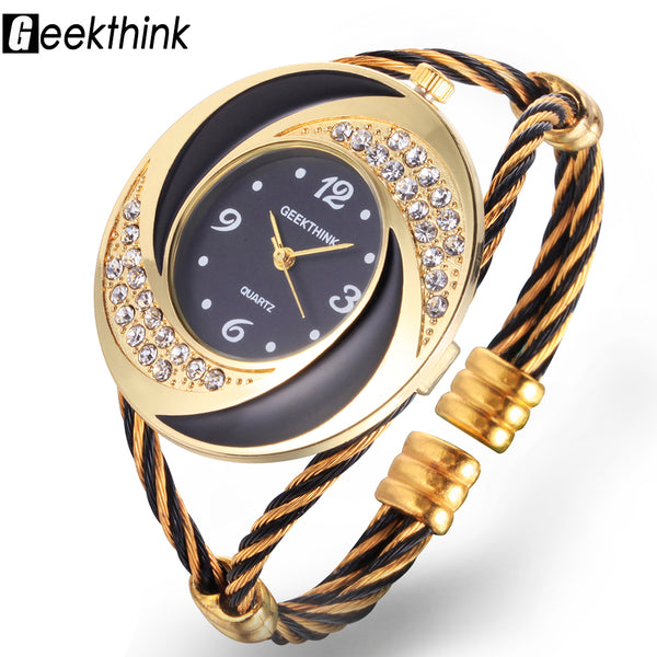 Rhinestone Whirlwind Design Metal Weave  Bracelet Bangle Quartz Watch