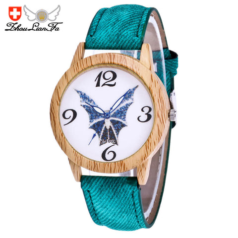 Brand Bat pattern Unisex Quartz Watch 2017 Halloween Leather Analog Wrist Simple Watch Denim Wooden Wristwatches
