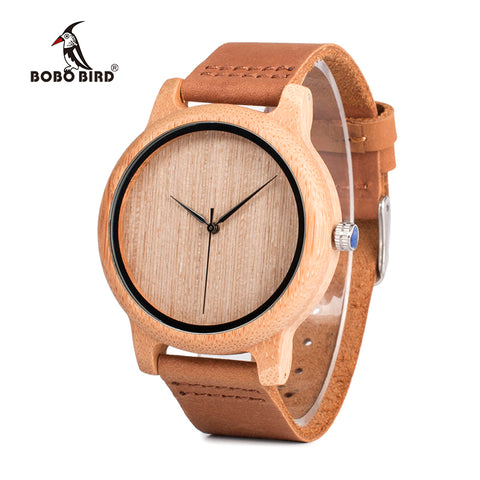 Quality  Bamboo Wooden Watch With Genuine Leather Band - Unisex for Men or Women