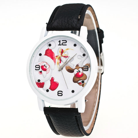 Christmas Leather Band Analog Quartz  Watch