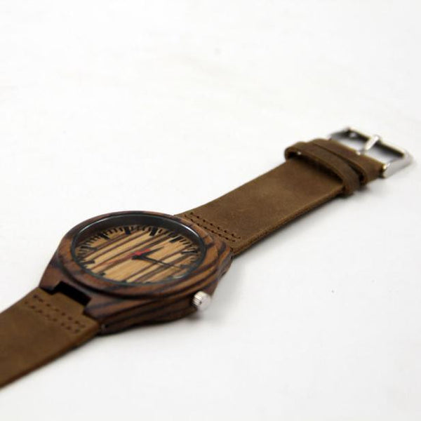 Fashionable Bamboo & Leather Wooden Watch