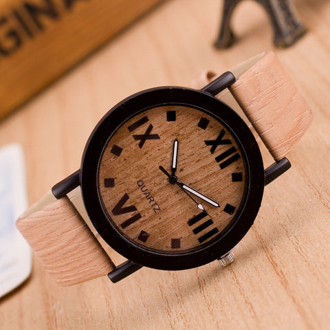 Roman Numerals Wood & Leather Band Quartz Wrist Watch